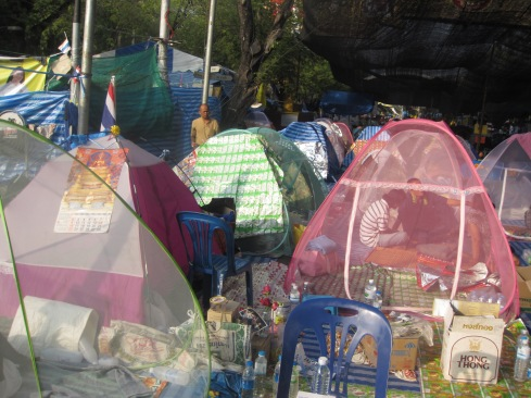 Protesters camping out