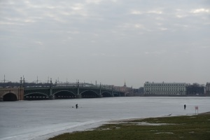 Ice fishing on the Neva River