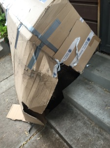 How my bike box arrived home, no bottom.  Bikes were in great shape!!!