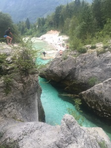 The Soca River, a crazy colored river