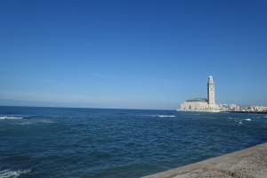 King Hassan II mosque and the ocean